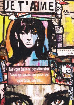 Card Vol de nuit N°2. Cécile De Las Candelas painter.