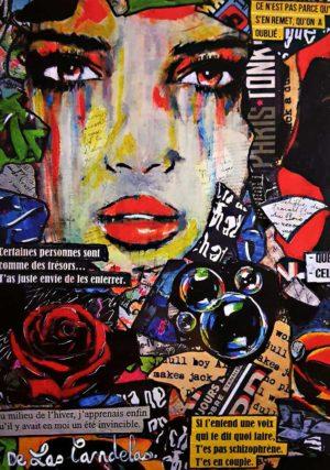 Carte Blue bubble N°1, Cécile De Las Candelas artiste peintre