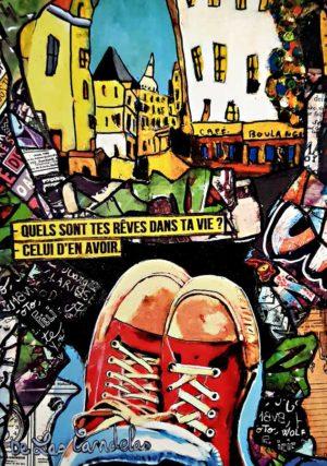 Card Dans ma bulle N°2. Cécile De Las Candelas painter.
