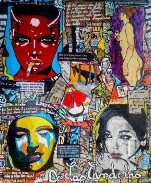 Tableau AUX LARMES ET CAETERA, 54x66 cm, Cécile De Las Candelas artiste peintre