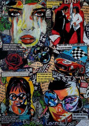 Painting BLUE BUBBLE... Mixed Media, 50x70 cm. Cécile De Las Candelas painter. Unique work signed by the artist
