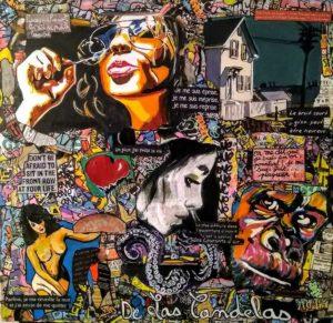 Tableau DON'T BE AFRAID, 80x80 cm, Cécile De Las Candelas artiste peintre