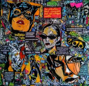 Tableau FUCKING LIFE, 80x80 cm, Cécile De Las Candelas artiste peintre