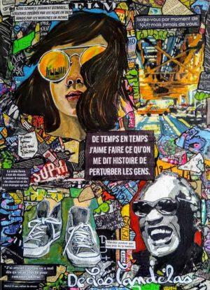 Painting BOUGE DE LÀ... Mixed Media, 50x70 cm. Cécile De Las Candelas painter. Unique work signed by the artist