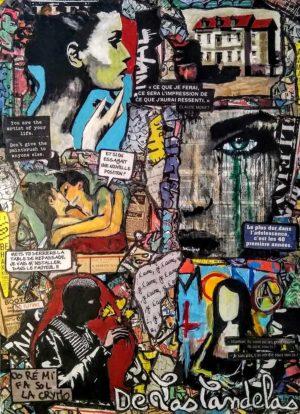 Painting GOOD LUCK... Mixed Media, 50x70 cm. Cécile De Las Candelas painter. Unique work signed by the artist