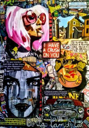 Painting  HAVE A CRUSH... Mixed Media, 50x70 cm. Cécile De Las Candelas painter. Unique work signed by the artist