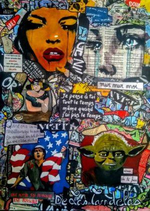 Painting PEACE AND LOVE... Mixed Media, 50x70 cm. Cécile De Las Candelas painter. Unique work signed by the artist