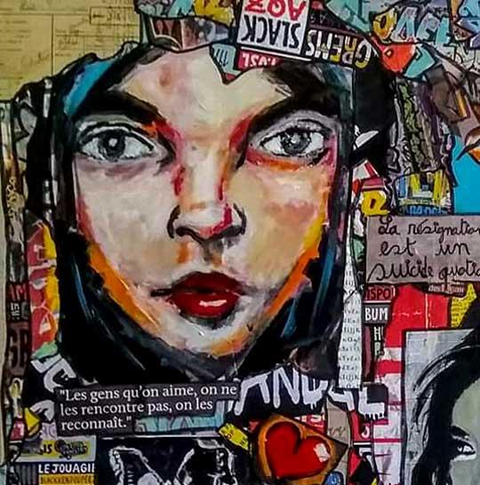 Tableau ROSIE, 80x80 cm, Cécile De Las Candelas artiste peintre
