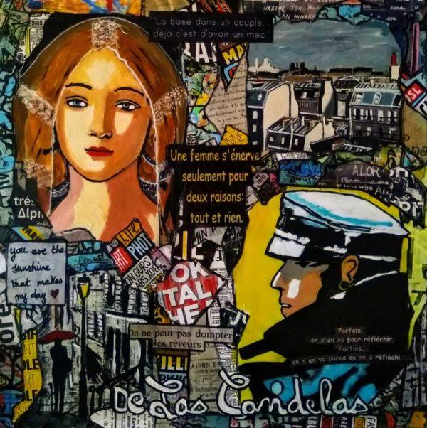 Painting SOMETIMES... Mixed Media, 50x50 cm. Cécile De Las Candelas painter. Unique work signed by the artist