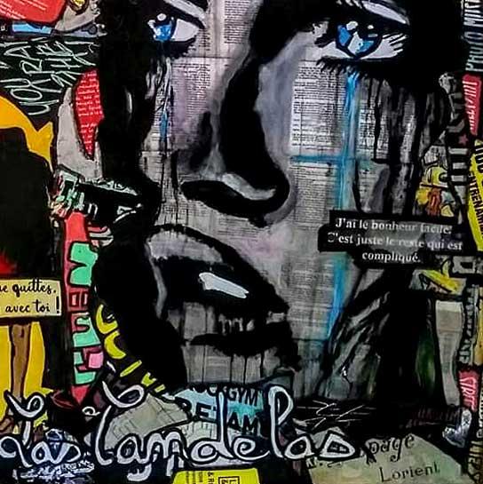 Tableau STAY BE ME, 80x80 cm, Cécile De Las Candelas artiste peintre