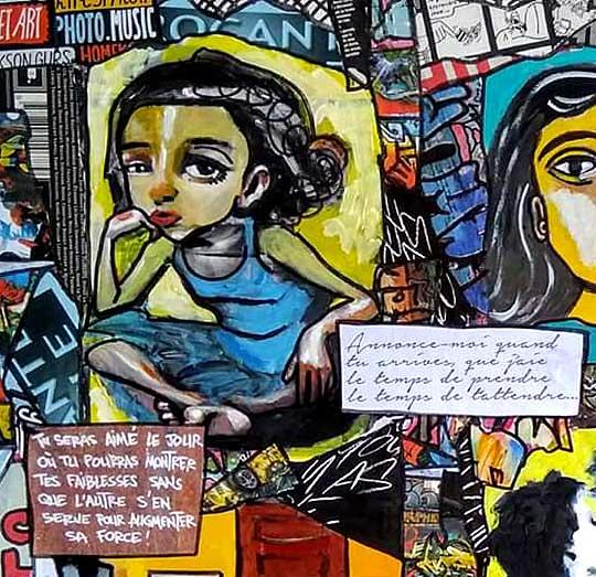 Tableau THE SUNSHINE, Mixed Media, 80x80 cm, Cécile De Las Candelas painter. Unique work signed by the artist