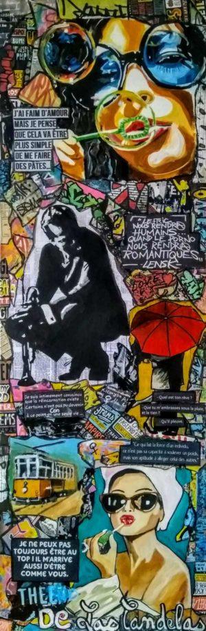 Tableau UN TRAMWAY NOMMÉ..., 40x120 cm, Cécile De Las Candelas artiste peintre