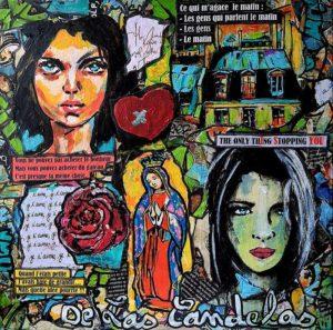 Painting MON AMIE LA ROSE, 30x30 cm, Cécile De Las Candelas painter