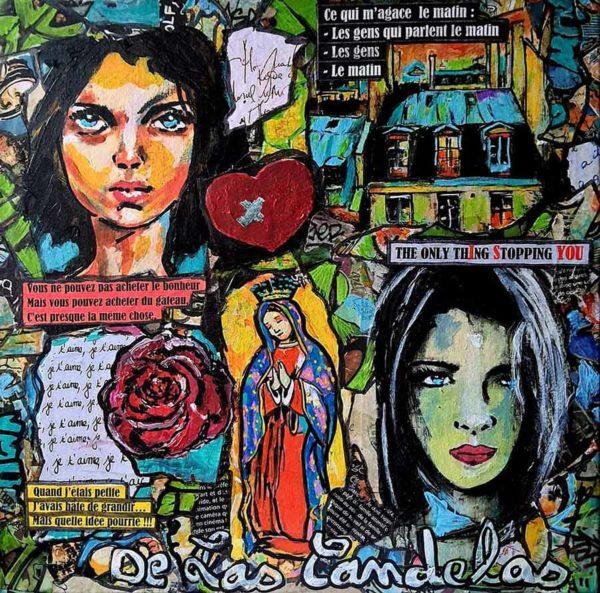 Tableau MON AMIE LA ROSE, 30x30 cm, Cécile De Las Candelas artiste peintre