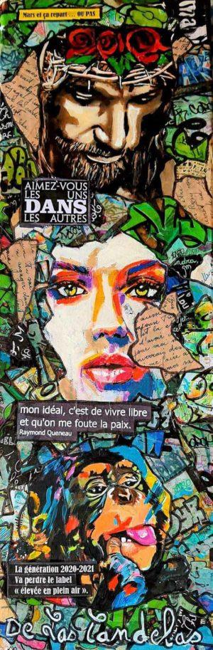 Painting HIP HIP HIP, 20x60 cm, Cécile De Las Candelas painter