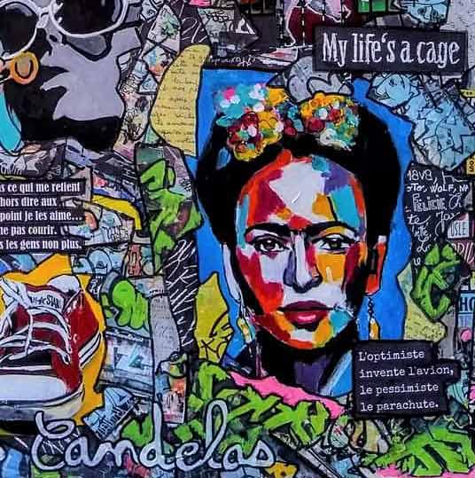 Tableau NO CAGE NO RAGE, 80x80 cm, Cécile De Las Candelas artiste peintre