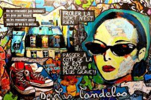 Painting RENDEZ-VOUS, 33x22 cm, Cécile De Las Candelas painter